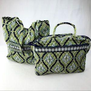 Vera Bradley Green Blue Hobo & Laptop Sleeve/Case